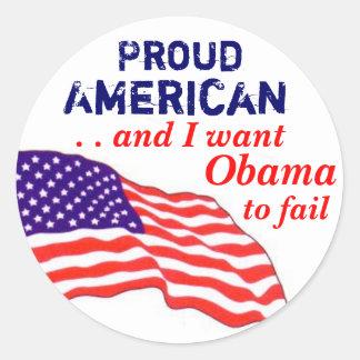Americano orgulhoso Falha de Obama Adesivos Em Formato Redondos