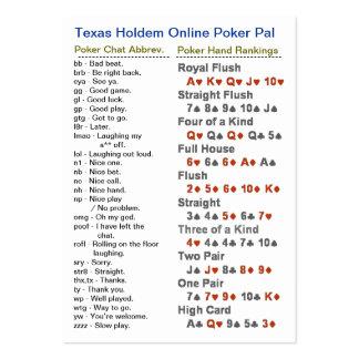 Amigo em linha do póquer de Texas Holdem Modelos Cartao De Visita