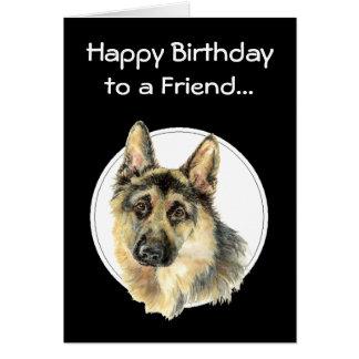 Amigo impagável do feliz aniversario, german sheph cartão comemorativo