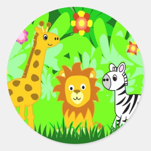 Amigos da selva adesivo em formato redondo