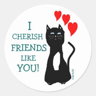Amigos do amor do gato adesivos redondos