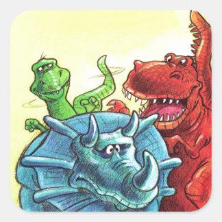 Amigos do dinossauro adesivo quadrado