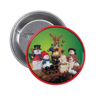 Amigos do Natal com bonecos de neve Bóton Redondo 5.08cm