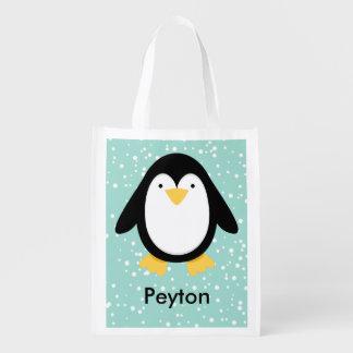 Amigos do pinguim sacola ecológica para supermercado