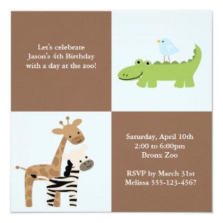Amigos do safari convite quadrado 13.35 x 13.35cm