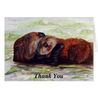 Amigos dos cartões de agradecimentos da lontra de