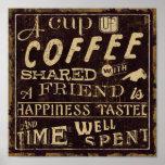Amigos e café impressão