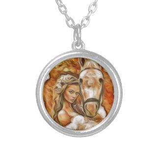 Amigos menina e cavalo colar personalizado