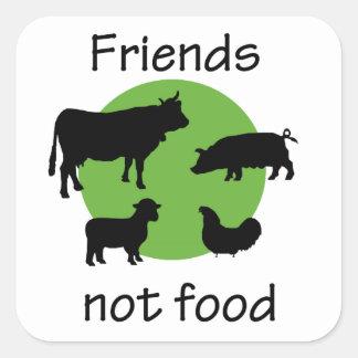 Amigos, não comida adesivo quadrado