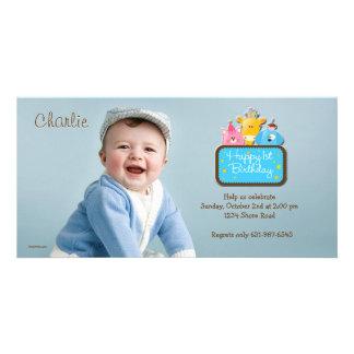 Amigos pequenos - primeiro convite da foto do aniv cartões com foto personalizados