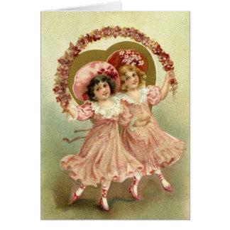Amizade cor-de-rosa do dia dos namorados do cartão comemorativo