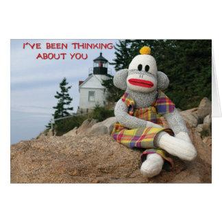 Amizade de pensamento do macaco cartão comemorativo