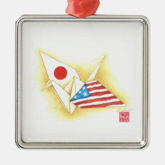 Amizade Japão-EUA do ~ de prata do ornamento