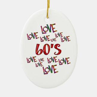 Amor 60s do amor ornamento de cerâmica oval