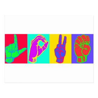 AMOR Andy Warhol do linguagem gestual Cartões Postais