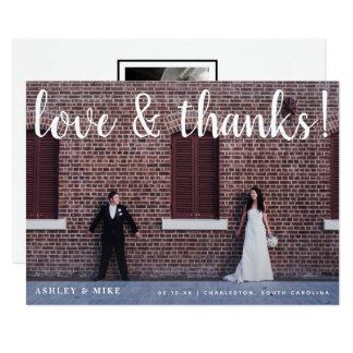 Amor & anúncio do casamento da foto dos obrigados