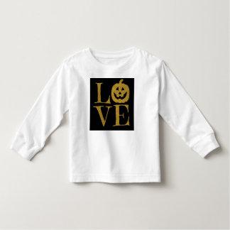 AMOR bonito do Dia das Bruxas, letras do brilho do Camiseta Infantil