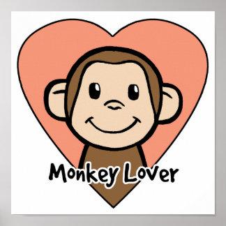 Amor bonito do macaco do sorriso do clipart dos poster
