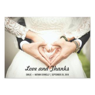 Amor bonito e obrigados da foto do casal do convite 12.7 x 17.78cm