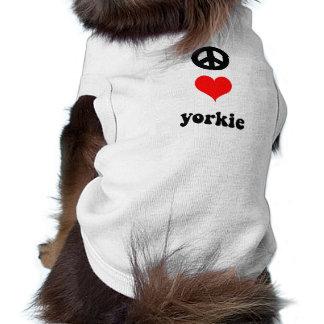 Amor bonito Yorkie da paz Camisa Sem Mangas Para Cachorro