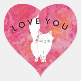 Amor branco tropical do gato você adesivo coração