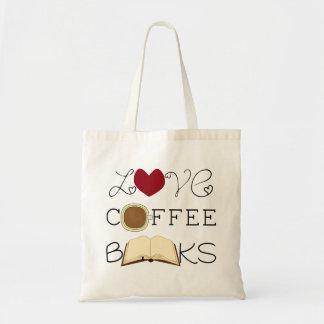 Amor, café, livros sacola tote budget