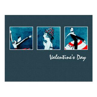 Amor. Cartão do art deco do dia dos namorados