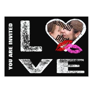AMOR com beijos - modelo da foto Convite 12.7 X 17.78cm