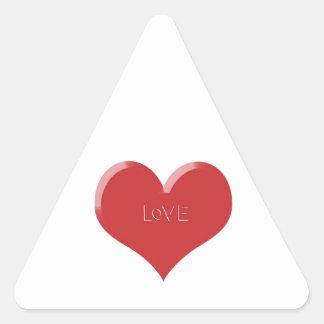 Amor com seu coração adesivo triangular