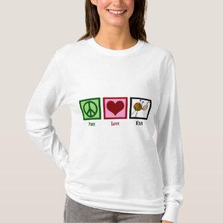 Amor & confecção de malhas da paz camiseta