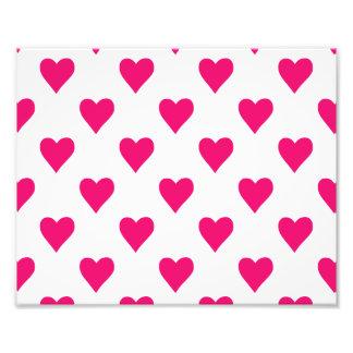 Amor cor-de-rosa bonito do teste padrão do coração impressão de foto