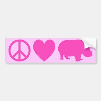 Amor cor-de-rosa e hipopótamos da paz adesivo para carro