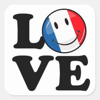 Amor da bandeira de sorriso de France Adesivo Quadrado