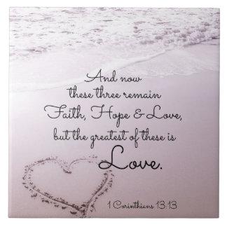 Amor da esperança da fé, 1 13:13 dos Corinthians, Azulejo Quadrado Grande