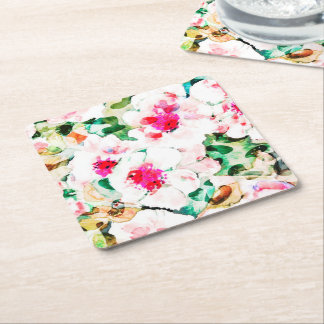 Amor da flor porta-copo de papel quadrado