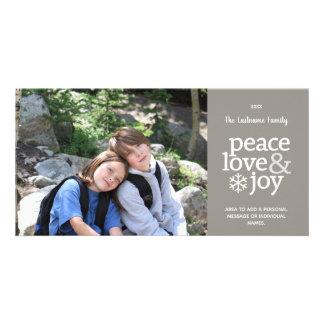 Amor da paz & alegria - cartão com fotos moderno