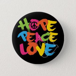 Amor da paz da esperança bóton redondo 5.08cm