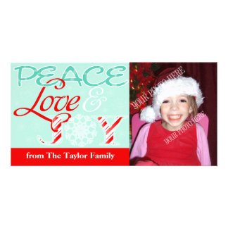 Amor da paz & de feriado da ALEGRIA (costume) Cartão Com Foto