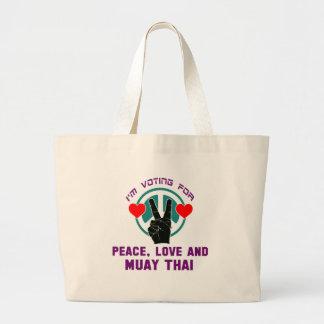 Amor da paz e tailandês de Muay Sacola Tote Jumbo