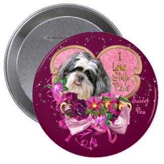 Amor de Shih Tzu botão redondo de 4 polegadas Bóton Redondo 10.16cm