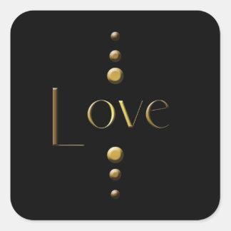 Amor do bloco do ouro de 3 pontos & fundo preto adesivo quadrado