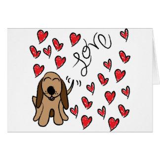 Amor do cão de cão cartão comemorativo