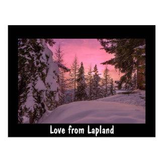 Amor do cartão do por do sol de Lapland