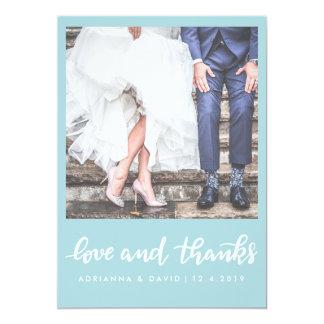 Amor do casamento da foto do azul | da hortelã e convite 12.7 x 17.78cm