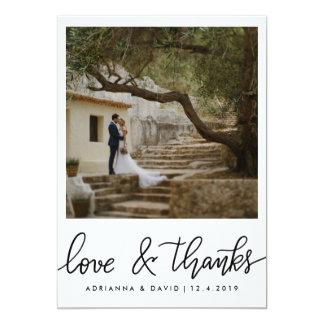 Amor do casamento da foto do casal e roteiro dos convite 12.7 x 17.78cm