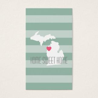 Amor do estado de origem do mapa de Michigan com Cartão De Visitas