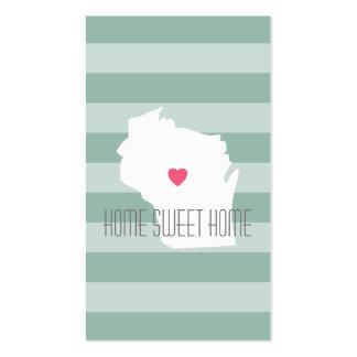 Amor do estado de origem do mapa de Wisconsin com Cartão De Visita