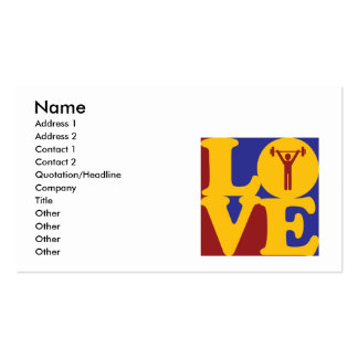 Amor do exercício cartão de visita