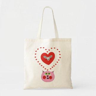 Amor do gato bolsas de lona