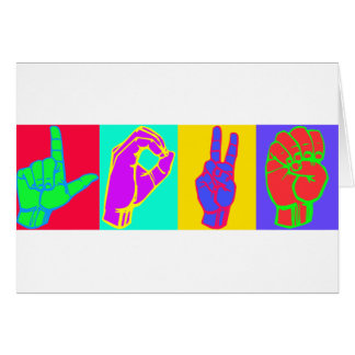 AMOR do linguagem gestual Cartão Comemorativo